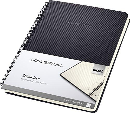 SIGEL CO823 Spiralblock A5, liniert, Hardcover, schwarz, 80 Blatt, Conceptum  - auch in A4