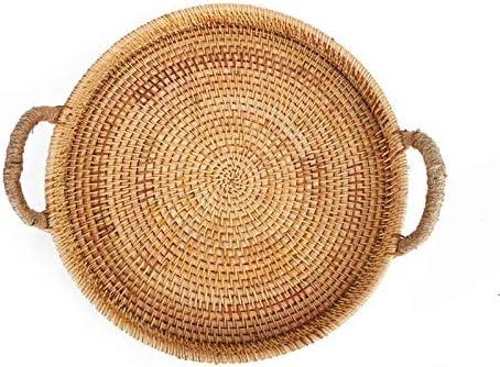 LiuliuBull Rattan Storage Tray Round Basket Max 61% OFF Handle with Brand Cheap Sale Venue Hand-Wov