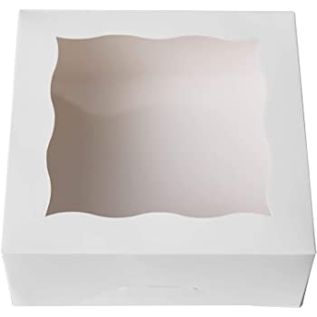 "ONE MORE 6""White Bakery Boxes with pvc Window for Pie and Cookies Boxes Small Natural Craft Paper Box 6x6x2.5inch,12 of Pack"