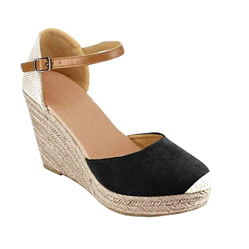 207dc6b56c1 Syktkmx Womens Espadrille Platform Wedges Ankle Strap Cap Toe Mary Jane  D Orsay Heeled Sandals