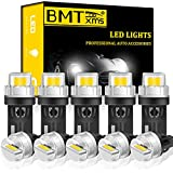 BMTxms 194 168 LED Bulb,Error Free T10 2825 W5W LED Interior Car Light Bulbs for Dome Map Parking Trunk Door Courtesy License Plate Lights Xenon White, Pack of 10