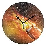 EZIOLY Ballon de Rugby Fly Horloge Murale, 25,4cm Silencieux Non tic-tac à Quartz à Piles Rondes horloges murales pour Maison/Bureau/école Horloge