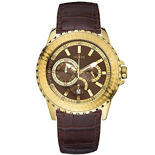 Gents 'Galaxy' Caso, Chapado en Oro marrón cocodrilo Grano Correa de Cuero Reloj