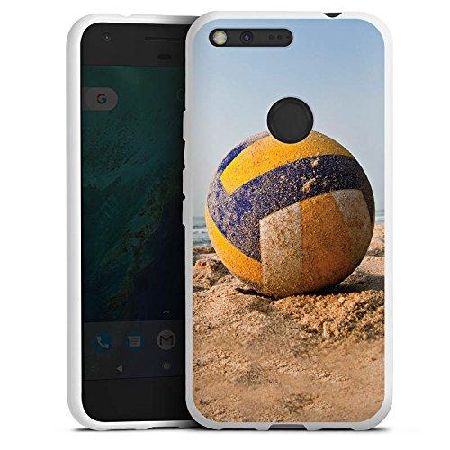 DeinDesign Silikon Hülle kompatibel mit Google Pixel XL Case weiß Handyhülle Volleyball Sand Hobby