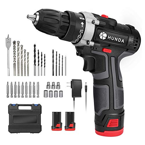 Cordless Drill Set 128V Portable Power Drill Driver with 2 Pcs 3900mAh Batteries 249 Inlb Torque 251 Clutch 2/5quot Keyless Chuck 2 Speeds 31 Pcs AccessoriesLED Light Carrying Case