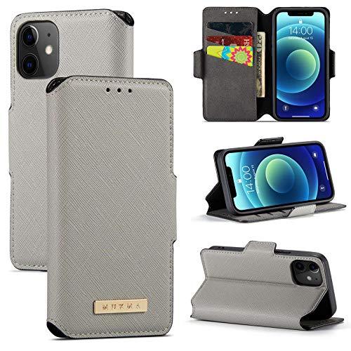 13peas Funda compatible con iPhone 12/Mini/Pro/Pro Max, carcasa Apple móvil de silicona, funda de piel con tapa para Apple 12/Mini/Pro/Pro Max (Plata, Pro Max 6,7 pulgadas)