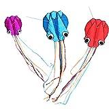 großer Octopus Drachen Flugdrachen Einleiner, Large Flyer Regenbogendrachen mit Langen bunten Schwänzen für Spiele und Aktivitäten im Freien für Erwachsene