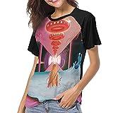 Kmehsv Maglietta/T-Shirt Manica Corta da Donna, Kesha Rainbow Womens Short Sleeve Raglan Baseball Tshirts Black