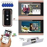 Intelligente Videotürklingel DYWLQ Wifi Bildtelefon mit 2 Monitoren