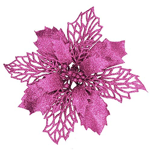 "24 Pcs Christmas Pink Glittered Mesh Holly Leaf Artificial Poinsettia Flowers Picks Tree Ornaments 5.9"" W for Pink Christmas Tree Wreath Garland Floral Gift Winter Wedding Holiday Decoration"