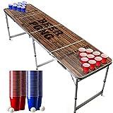 Offizieller Old School Beer Pong Tisch Set | Full Beer Pong Pack | Inkl. 1 Beer Pong Tisch + 120 53cl Becher (60 Rot & 60 Blau) + 6 Ping-Pong-Bälle | Premium Qualität | Partyspiele | Trinkspiele