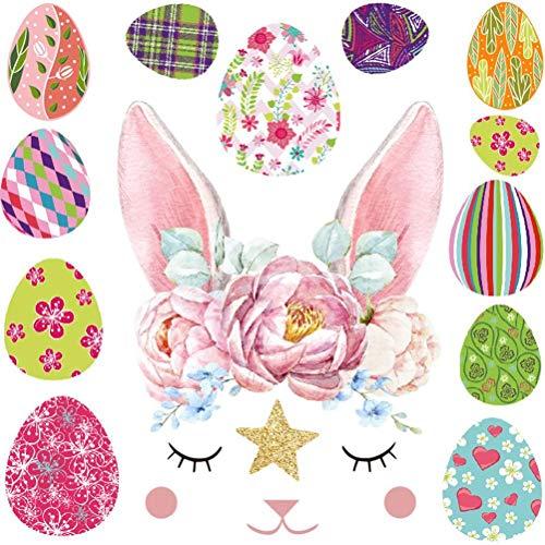 Yooyg Pegatinas de pared de conejo de Pascua para decoración de ventana de dormitorio de bebé