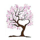 Libro de visitas para boda, árbol de huellas dactilares, lona impermeable con 1 almohadilla de tinta de color aleatorio