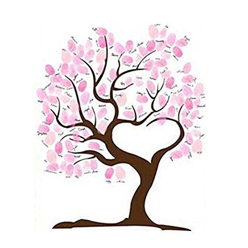 SwirlColor Mariage Guestbook Tree Fingerprint Empreinte Digitale De Mariage Toile Imperméable avec 1 Couleur Aléatoire inkpad