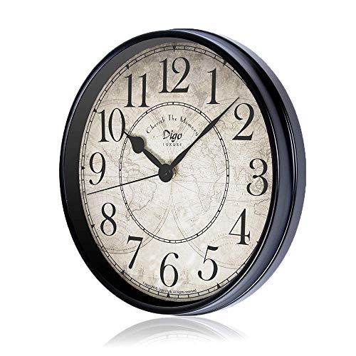 Reloj de pared, 30 cm, de metal, estilo europeo, retro, vintage, reloj sin tictac, funciona con pilas con cristal HD, fácil de leer para decoración de interiores, salón, cocina, dormitorio (Arab)