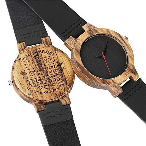 RWJFH Reloj de Madera Reloj de Madera único para Hombres Reloj de Pulsera de Cuero de Cuarzo con diseño Grabado Reloj Informal Simple, Solo Reloj