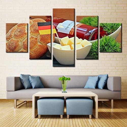KQURNXSL Foto's van brood eten beste kunst voor keuken decoraties olieverfschilderij canvas hoge kwaliteit