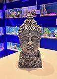 Mezzaluna Gifts Adornos de acuario con temática japonesa, decoración de Buda, pagoda, bonsái, cabeza de buda gris, 15,5 cm de alto x 7 cm de largo x 7 cm de ancho.