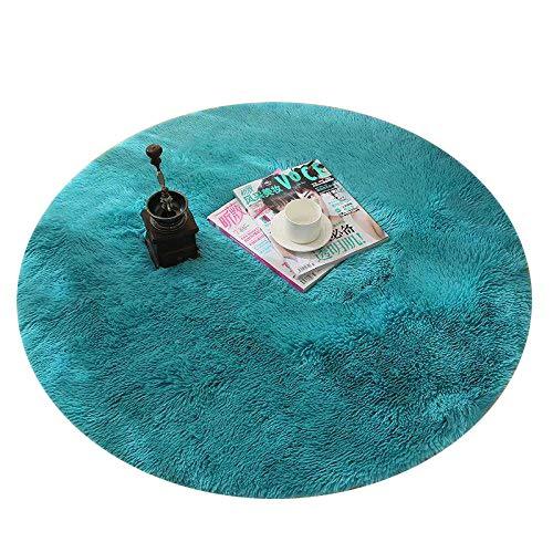 Tapis de sol rond ultra doux à poils longs pour salon et chambre à coucher 80*80cm bleu
