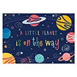 Funnytree Stars Universe Baby Shower Party Backdrop a Little Planet is on The Way Galaxy Solar System Photography Background Boy Cake Table Decorations Banner Photo Booth Studio Props 7x5ft