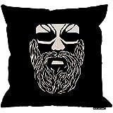 2pcs 18X18Inch-Ancient Funda de almohada, Cool Tribal Warrior Face Logo Algodón Lino Poliéster Decoración decorativa para el hogar Sofá Sofá Silla de escritorio Dormitorio 18X18 pulgadas