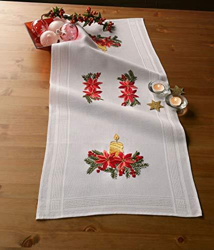 Kamaca Stickpackung Tischläufer ADVENTSGESTECK Spannstich Plattstich Nadelmalerei vorgezeichnet aus Baumwolle Stickset mit Stickvorlage