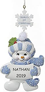 Personalized Baby's 1st Christmas Snowman Ornament (Blue)