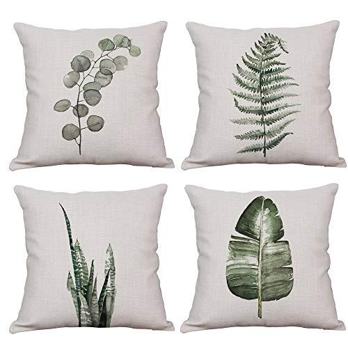 YeeJu Juego de 4 fundas de almohada decorativas de hoja de helecho, cuadradas, de algodón, lino, para exteriores, sofá, hogar, 60 x 60 cm