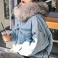 Amisi レディース デニムコート デニムジャケット フェイクファー裏地付き フード付き 無地 裏起毛 秋 冬 防寒 防風 厚手 暖かい ジーンズ コート グレー XL