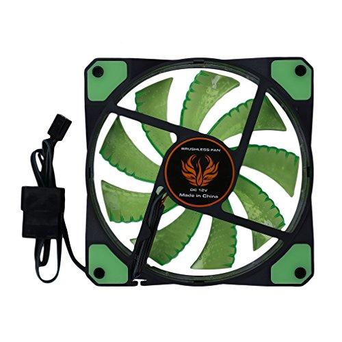 Ventilador de Caja de 120 mm, Ventilador de PC, Ventilador de computadora silencioso LED Ventilador de Caja de PC de computadora Ultra silencioso 15 LED 12V con Conector de Goma silencioso Molex