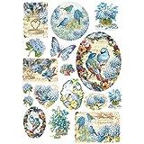 STAMPERIA DFSA4077 - Carta di riso, formato A4, motivo: uccelli e farfalle azzurre, multicolore, 29,7 x 21 cm