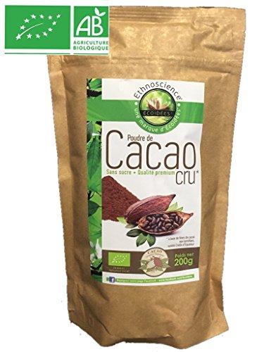 Poudre de cacao cru bio sans sucre qualité prémium 200g