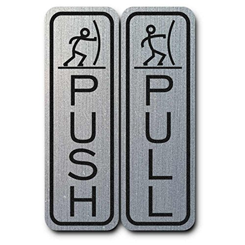 Classic Fun Push Pull Door Sign (Brushed Silver) - Medium