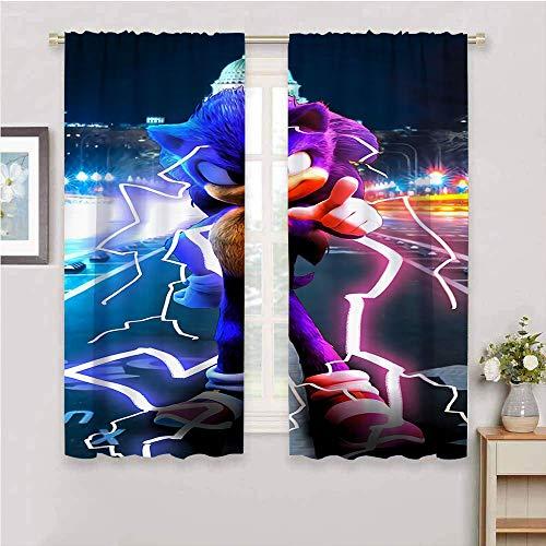 Cortinas opacas de dormitorio Sonic the Hedgehog, cortinas opacas con aislamiento térmico para sala de estar (55 x 63 pulgadas)