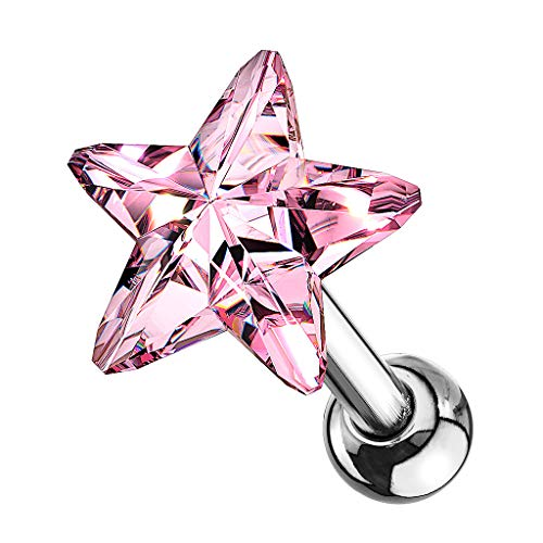 Piercingfaktor Tragus Helix Ohr Cartilage Knorpel Ear Piercing 316 L Chirurgenstahl Stecker Stud mit Kristall Strass Stern Silber Rosa