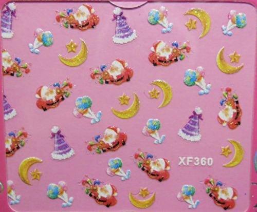 Générique Nail Art Stickers Autocollants pour Ongles décorations d'hiver: Pères Noël lunes étoiles Chapeaux