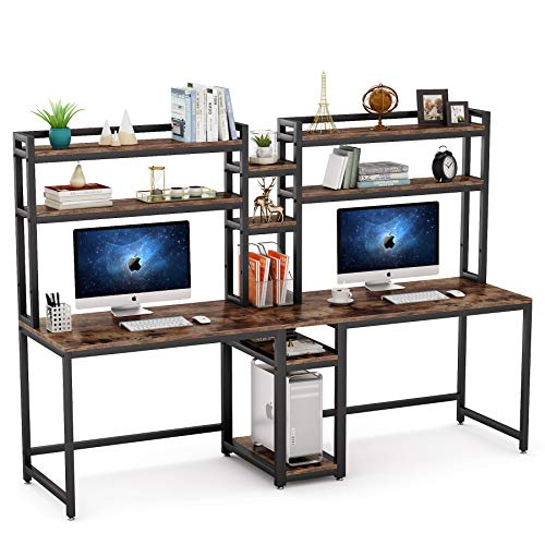 Tribesigns 90.5 inches Computer Desk with Hutch, Extra Long Two Person Desk Double Workstation with Storage Shelves, Large Office Desk Study Writing Tabl with Tower Shelf for Home Office, Rustic Brown