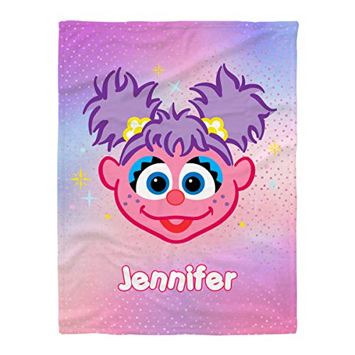 Create Your Own Name Sesame Street Abby Cadabby Smile Face Throw Blanket for Baby Girls, Customized Gradient Rainbow Cozy Fleece Blanket with Daughter Name, Birthday Gift for Her