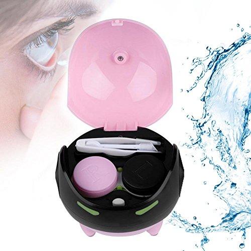 Ultraschallreiniger für Kontaktlinse, Automatische Kontaktlinse Washer Cleaner Fall Kontaktlinsenbehälter Nette Mashroom, USB Charge(Rosa)