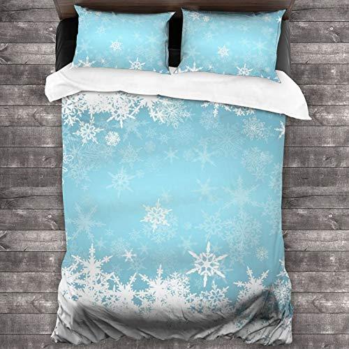 AIMILUX Funda Edredón,Congelado Plata Nevado Navidad Copos de Nieve Azul Frío Invierno Cae Blanco Escarchado Diseño Hielo,Ropa de Cama Funda Nórdica,1(140x200cm)+2(50x80cm)