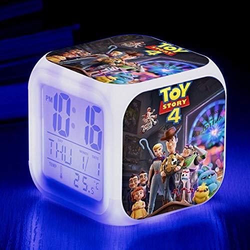 Superd nachtkastje voor kinderen wekker digitaal LED nachtlampje kleurrijke sfeerwekker vierkant Mudo met USB-aansluiting voor op reis kleine wekker cadeau Q5294