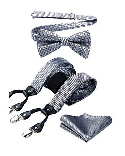 Enlision Hosenträger für Herren Fliege und Einstecktuch Y-Form mit Tupfen 6 Clips Braces