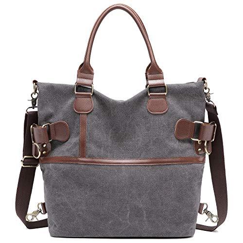Myhozee Canvas Damen Handtasche/Umhängetasche Schultertasche Vintage Taschen Multifunktionale Groß Hobo Bag für Schule Lässige Reisen, Grau