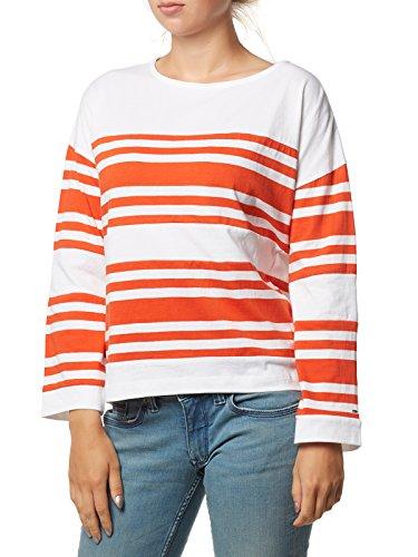 Tommy Jeans Damen Cut Sew Langarm Regular Fit Langarmshirt Orange (Spicy Orange/...