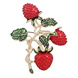Brooch Pins for Women, Fashion Strawberry Shape Brooch Pin Party Dress Collar Scarf Badge Gift