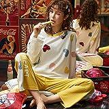 Pijama de Manga Larga para Mujer otoño e Invierno El Pijama Dulce Coreano se Puede Usar Fuera de la Ropa Simple