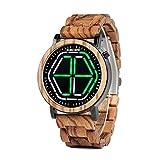 BOBO BIRD Bamboo Watch Mens Large Size Digital Led Display Night Vision Handmade Wooden Watches (Green)