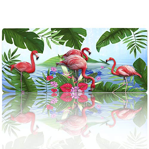 JIALONG Gaming Mauspad XXL Grosses 900x400mm Schreibtischunterlage Mehrzweck Komfortabel Abwischbar Anti Rutsch Matte für Büro Computer PC Tastatur und Maus (Flamingo-type1)