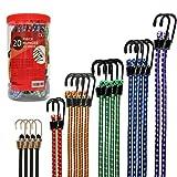 Premium Bungee Cords Heavy Duty - 20 Piece in Storage Jar Includes 10', 18', 24', 30', 36', 48' Bungie Cord Bundle