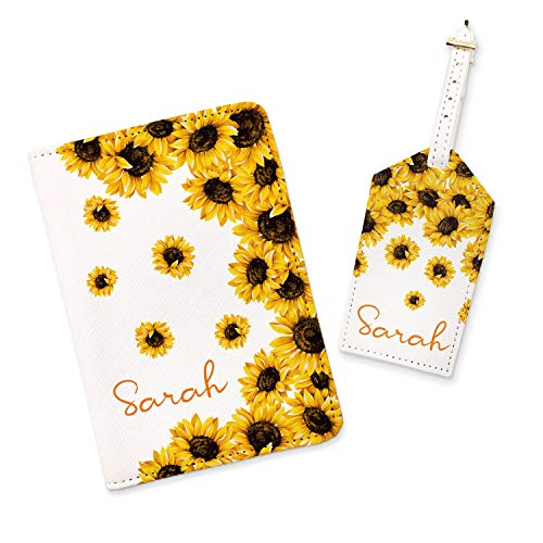 Sunflower Passport Holder Monogrammed Travel Set Custom Leather Passport Cover Cute Passport Case Luggage Tag Name Travel Wallet (White, Passport Holder)